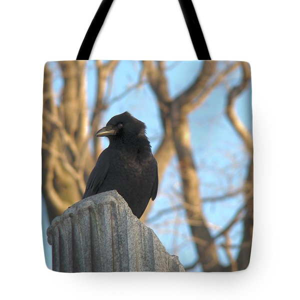 Crow In Wind Tote Bag by Gothicolors Donna