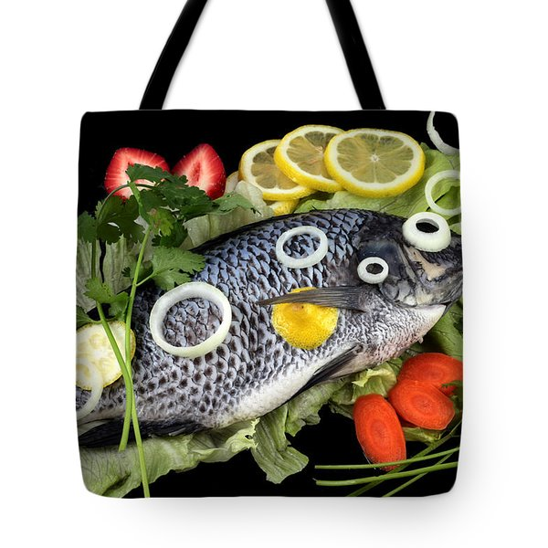 Crucian Fish With Vegetable Tote Bag by Paul Ge