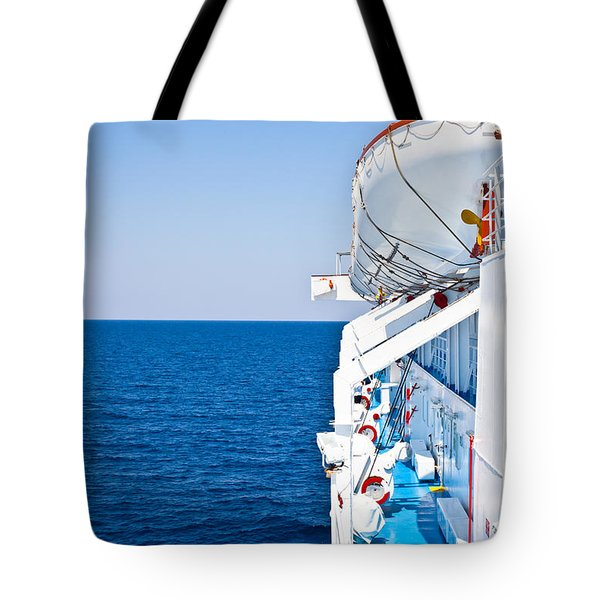 Cruise ship Tote Bag by Tom Gowanlock