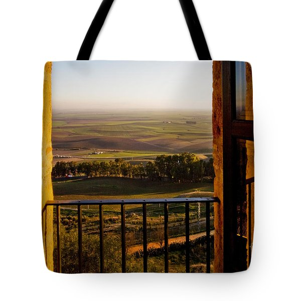 Cultivated Land in Spain Tote Bag by Spencer Grant and Photo Researchers