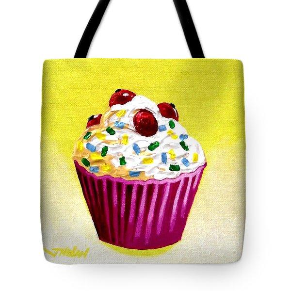 Cupcake With Cherries Tote Bag by John  Nolan