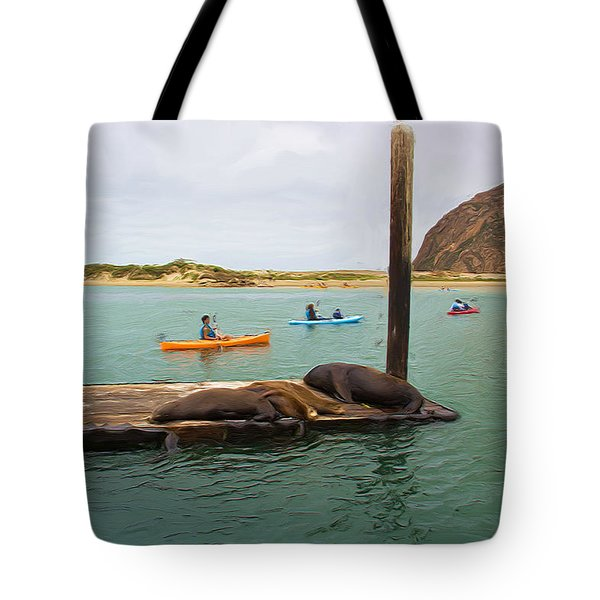 Curious About Sea Lions Tote Bag by Heidi Smith