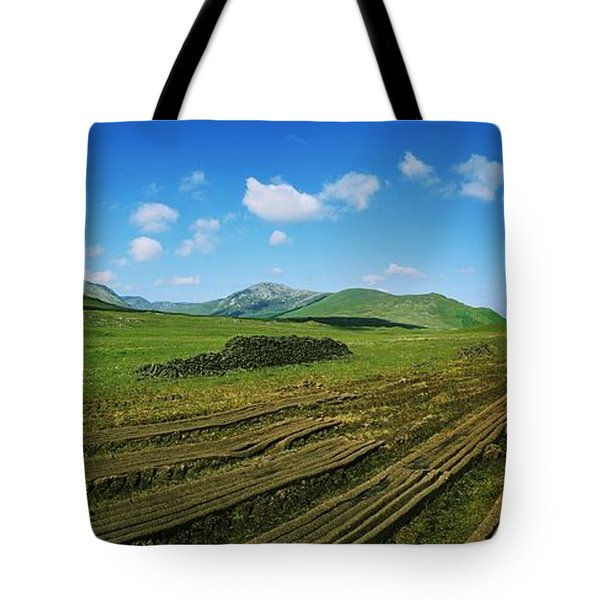 Cut Turf On A Landscape, Connemara Tote Bag by The Irish Image Collection