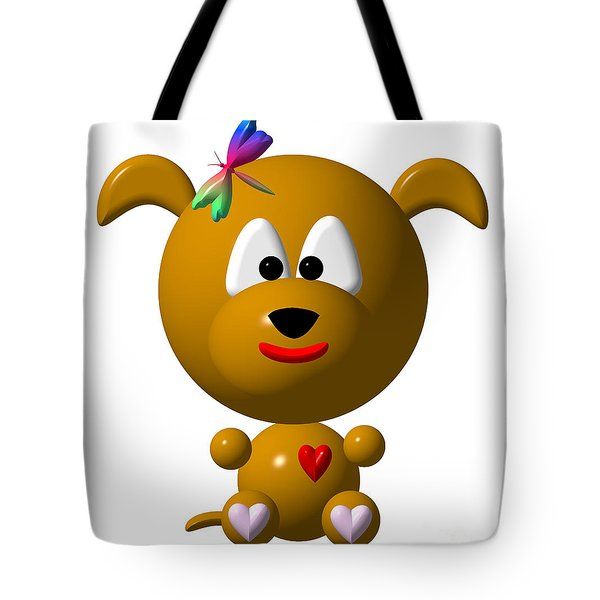 Cute Dog With Dragonfly Tote Bag by Rose Santuci-Sofranko