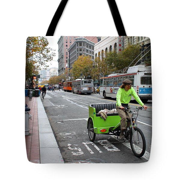Cycle Rickshaw on Market Street in San Francisco Tote Bag by Wingsdomain Art and Photography