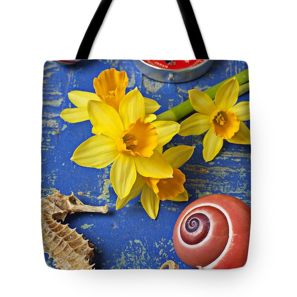Daffodils And Seahorse Tote Bag by Garry Gay