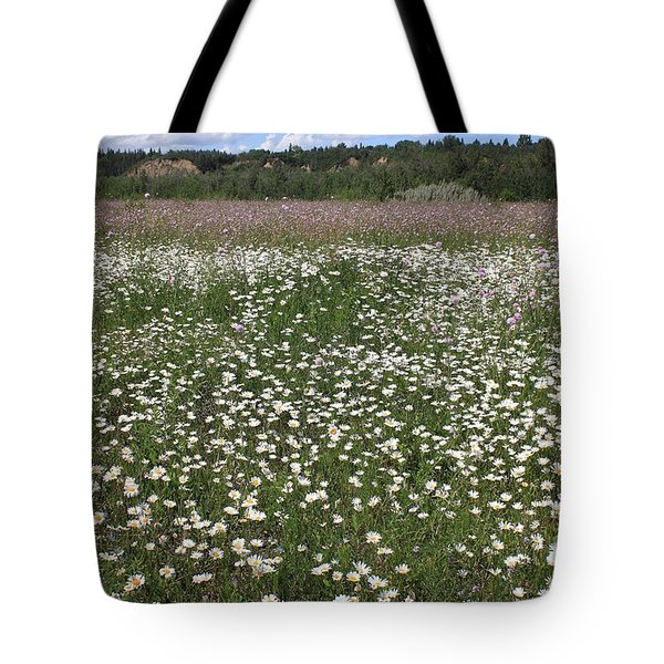 Daisies And Purple Flowers Tote Bag by Jim Sauchyn