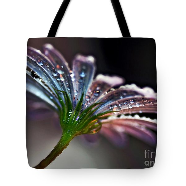 Daisy Abstract With Droplets Tote Bag by Kaye Menner