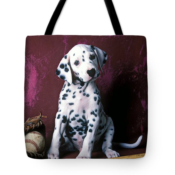 Dalmatian puppy with baseball Tote Bag by Garry Gay