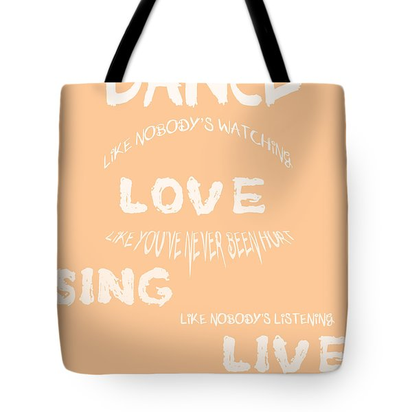 Dance Like Nobody's Watching - Peach Tote Bag by Georgia Fowler