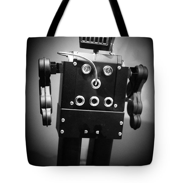 Dark Metal Robot Tote Bag by Edward Fielding