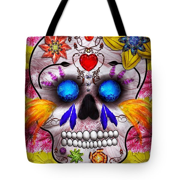 Day Of The Dead - Death Mask Tote Bag by Mike Savad
