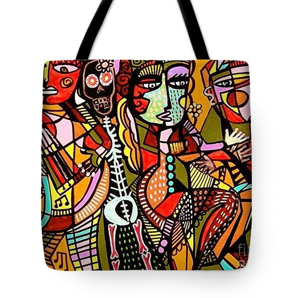 Day Of The Dead Lovers Tango Tote Bag by Sandra Silberzweig