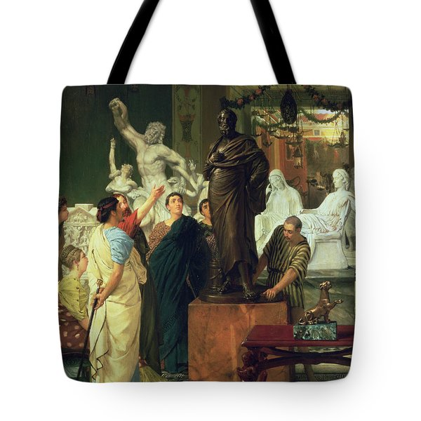 Dealer In Statues  Tote Bag by Sir Lawrence Alma-Tadema
