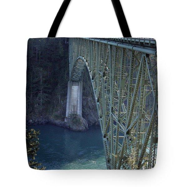 Deception Pass Bridge South Span Tote Bag by Randall Thomas Stone