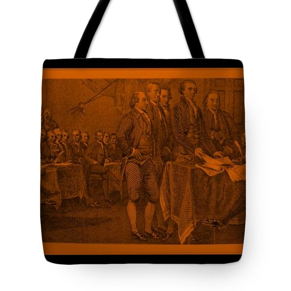 DECLARATION OF INDEPENDENCE in ORANGE Tote Bag by ROB HANS