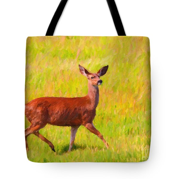 Deer In The Meadow Tote Bag by Wingsdomain Art and Photography