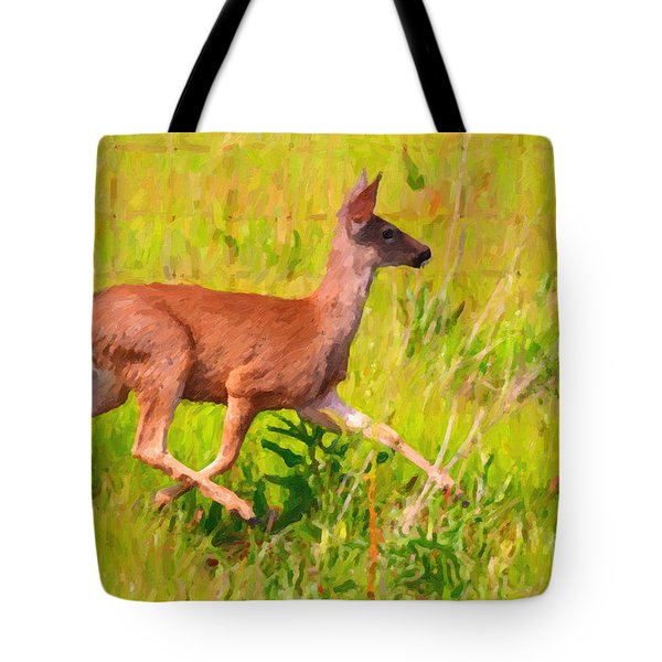 Deer Prancing In The Field Tote Bag by Wingsdomain Art and Photography