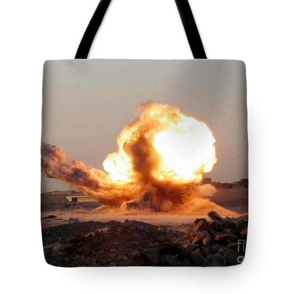 Detonation Of A Weapons Cache Tote Bag by Stocktrek Images