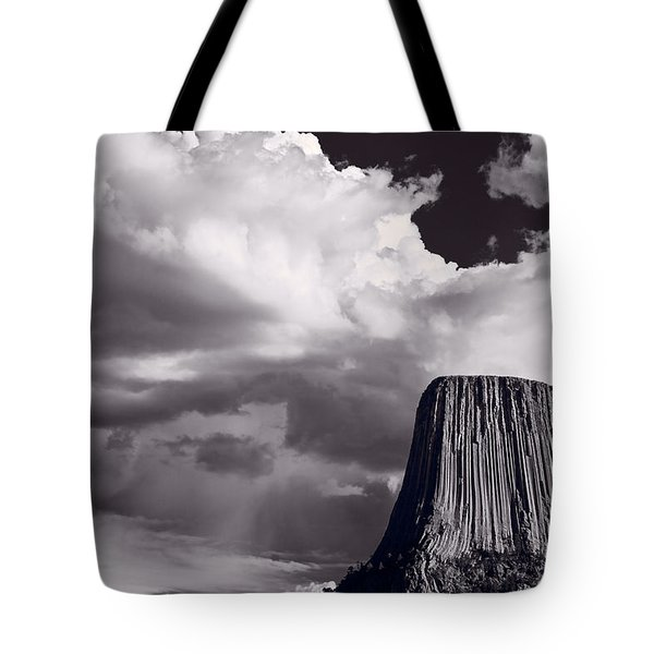 Devils Tower Wyoming Bw Tote Bag by Steve Gadomski