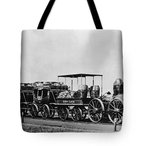 Dewitt Clinton Locomotive And Cars Tote Bag by Omikron