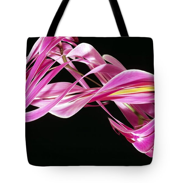 Digital Streak Image Of An Orchid Tote Bag by Ted Kinsman
