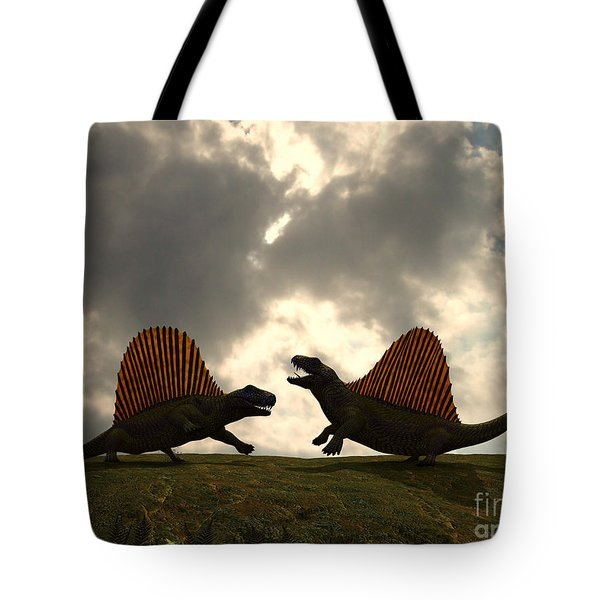 Dimetrodon Fight Over Territory Tote Bag by Walter Myers