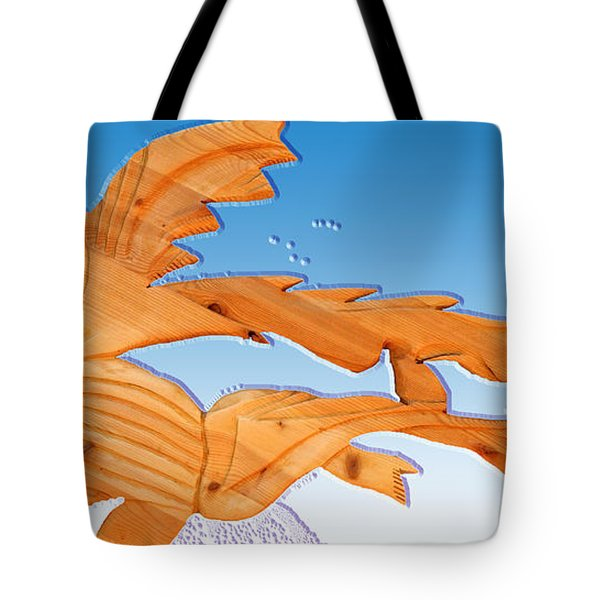 Dinosaur Fish With Bubbles Tote Bag by Robert Margetts