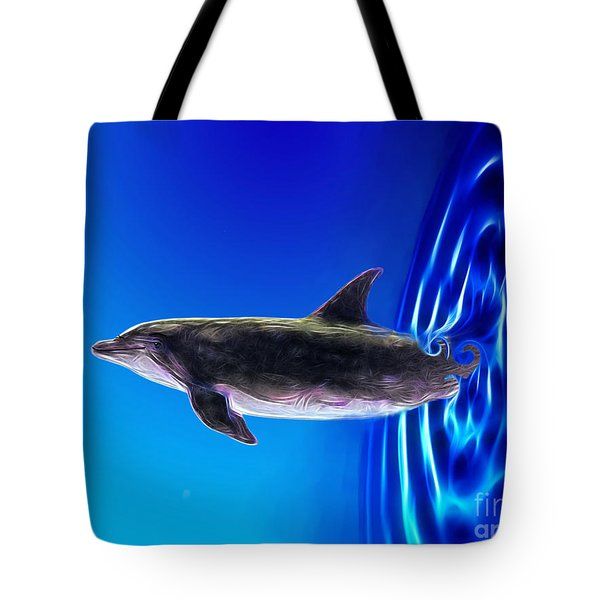 Dolphin Zoom Tote Bag by Methune Hively