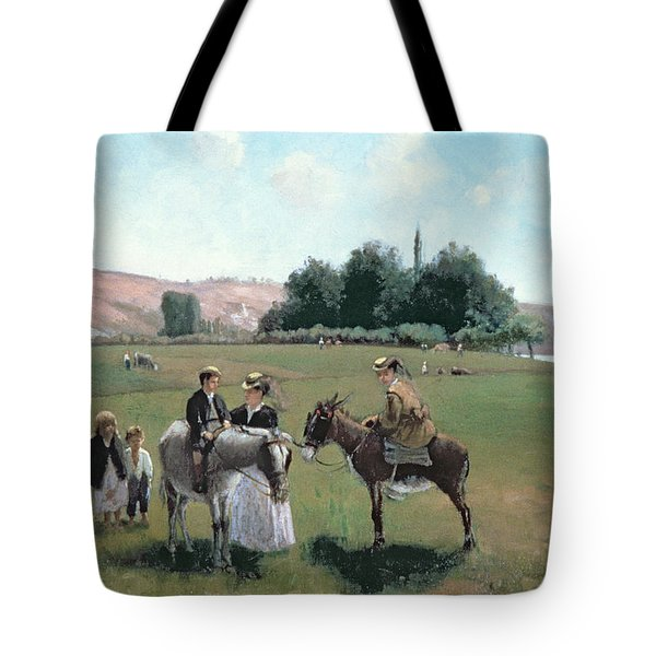 Donkey Ride Tote Bag by Camille Pissarro