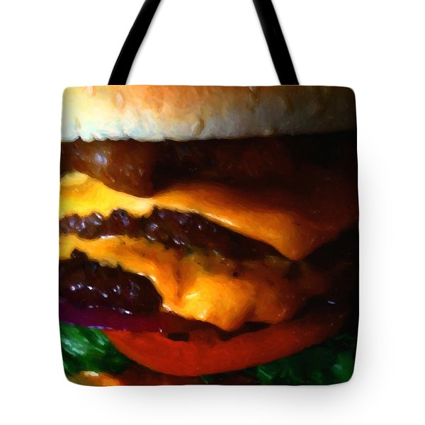 Double Cheeseburger With Bacon - Painterly Tote Bag by Wingsdomain Art and Photography