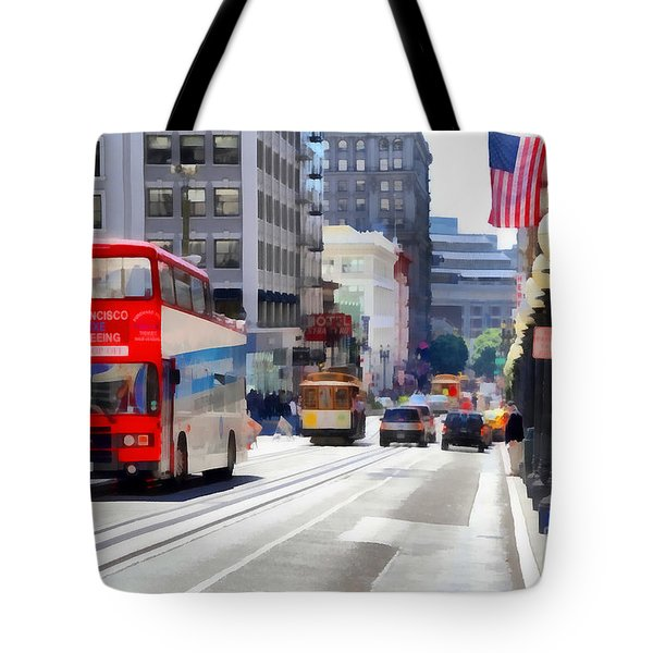 Double Decker Sightseeing Bus Along Powell Street In San Francisco California . 7d7269 Tote Bag by Wingsdomain Art and Photography