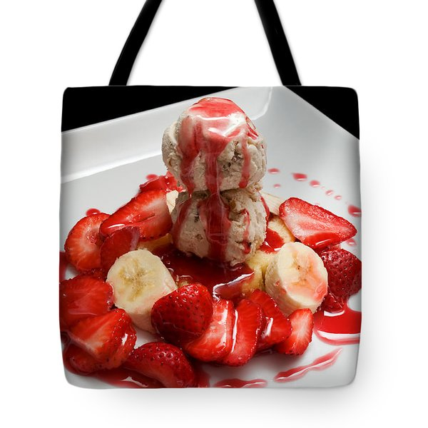 Double Scoop Strawberry Banana Shortcake Tote Bag by Andee Design
