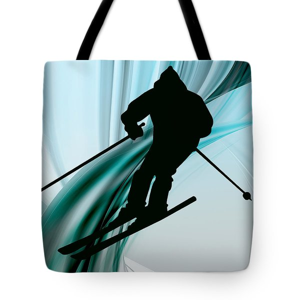 Downhill Skiing on Icy Ribbons Tote Bag by Elaine Plesser