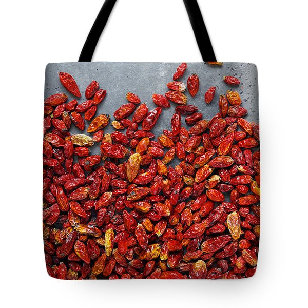 Dried Chili Peppers Tote Bag by Carlos Caetano