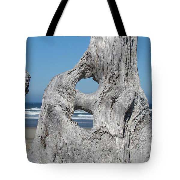 Driftwood Art Prints Coastal Blue Sky Ocean Waves Shoreline Tote Bag by Baslee Troutman
