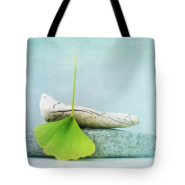 Driftwood Stones And A Gingko Leaf Tote Bag by Priska Wettstein