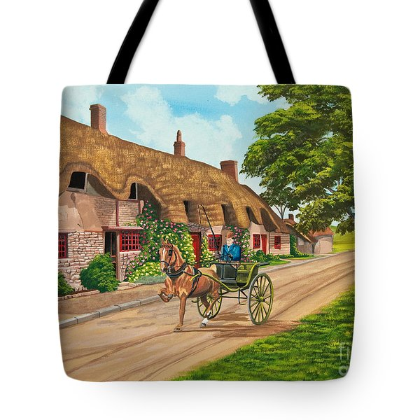 Driving a Jaunting Cart Tote Bag by Charlotte Blanchard