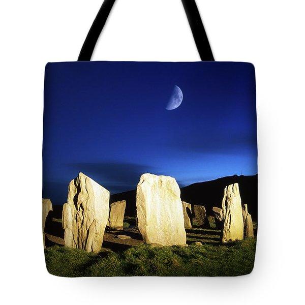 Drombeg, County Cork, Ireland Moon Over Tote Bag by Richard Cummins