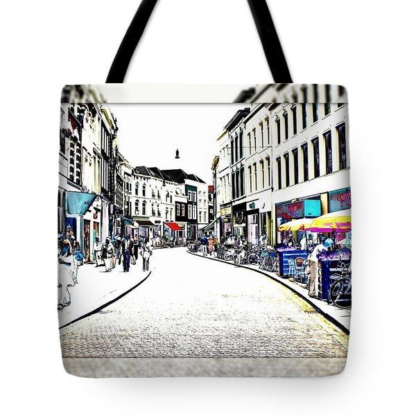 Dutch Shopping Street- Digital Art Tote Bag by Carol Groenen