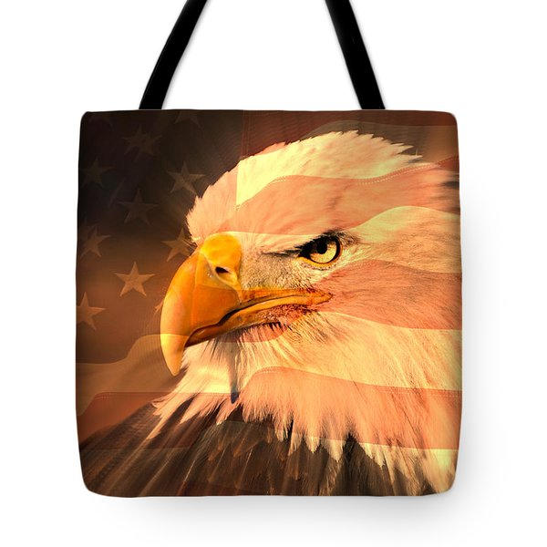 Eagle On Flag Tote Bag by Marty Koch