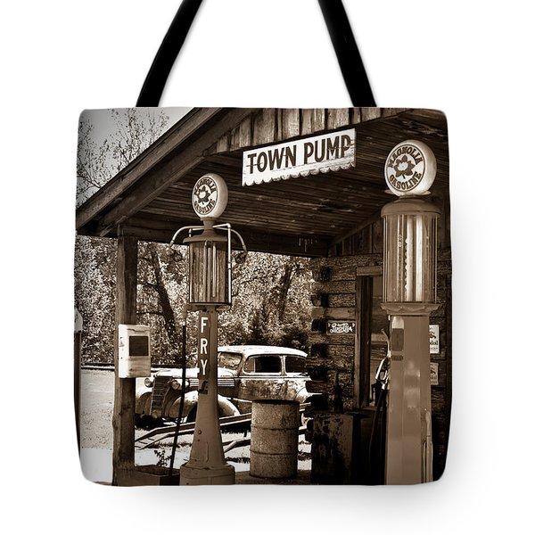 Early Gas Station Tote Bag by Douglas Barnett