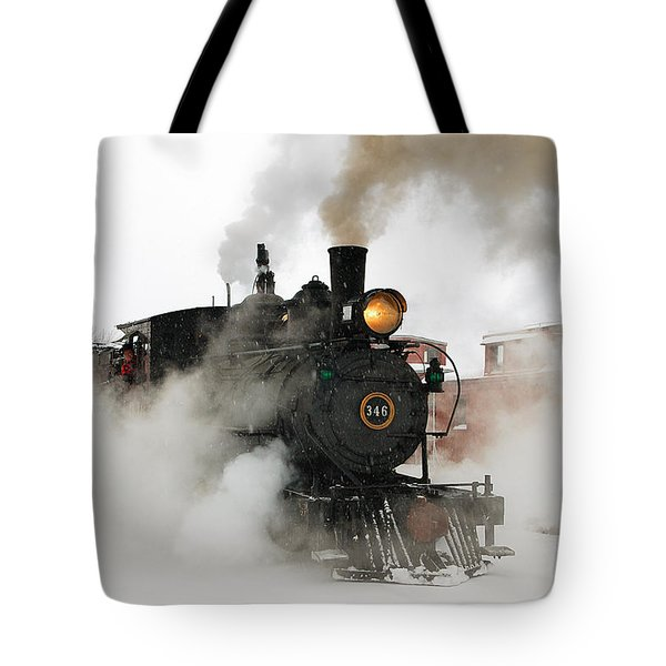 Early Morning Winter Steam Up Tote Bag by Ken Smith