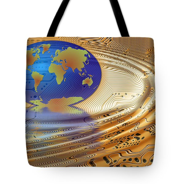 Earth in the printed circuit Tote Bag by Michal Boubin