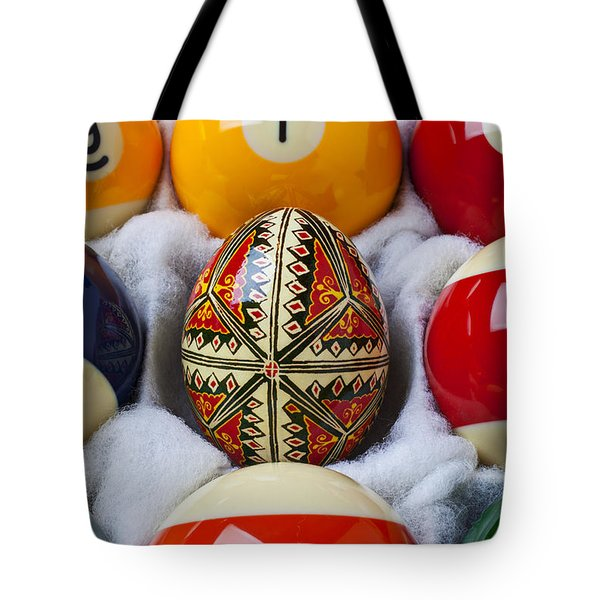 Easter Egg Among Pool Balls Tote Bag by Garry Gay