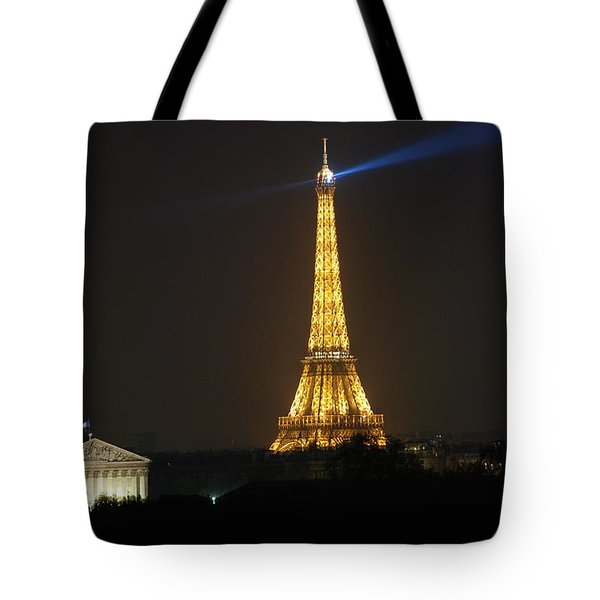 Eiffel Tower at Night Tote Bag by Jennifer Lyon