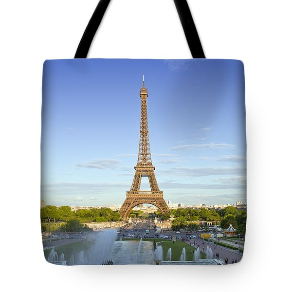 Eiffel Tower with Fontaines Tote Bag by Melanie Viola