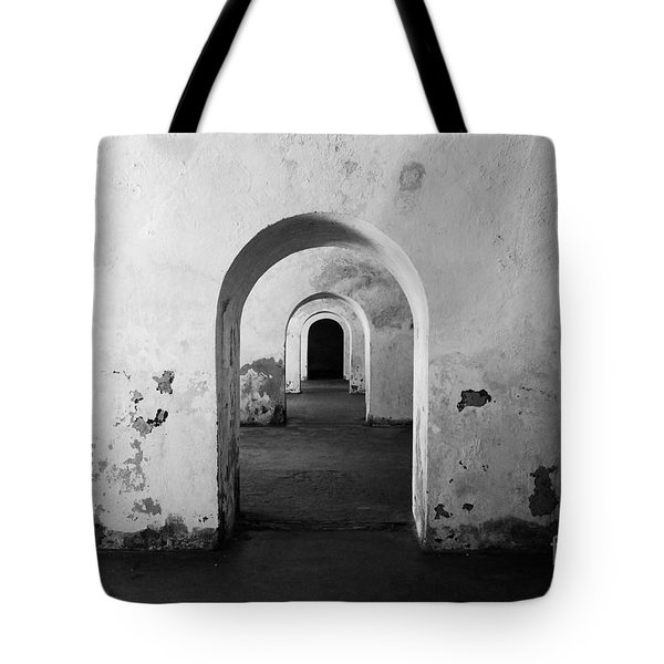 El Morro Fort Barracks Arched Doorways San Juan Puerto Rico Prints Black and White Tote Bag by Shawn O'Brien