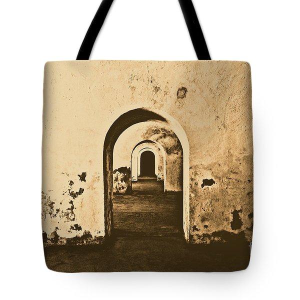 El Morro Fort Barracks Arched Doorways San Juan Puerto Rico Prints Rustic Tote Bag by Shawn O'Brien