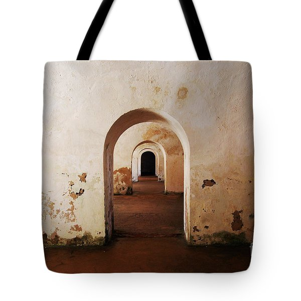El Morro Fort Barracks Arched Doorways San Juan Puerto Rico Prints Tote Bag by Shawn O'Brien